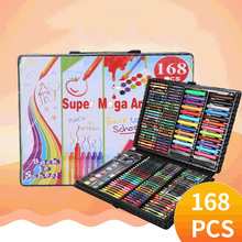 children drawing set 168pcs pen Kids Gift Office Stationery Supplies Watercolor Drawing Art Marker Brush Pen Set
