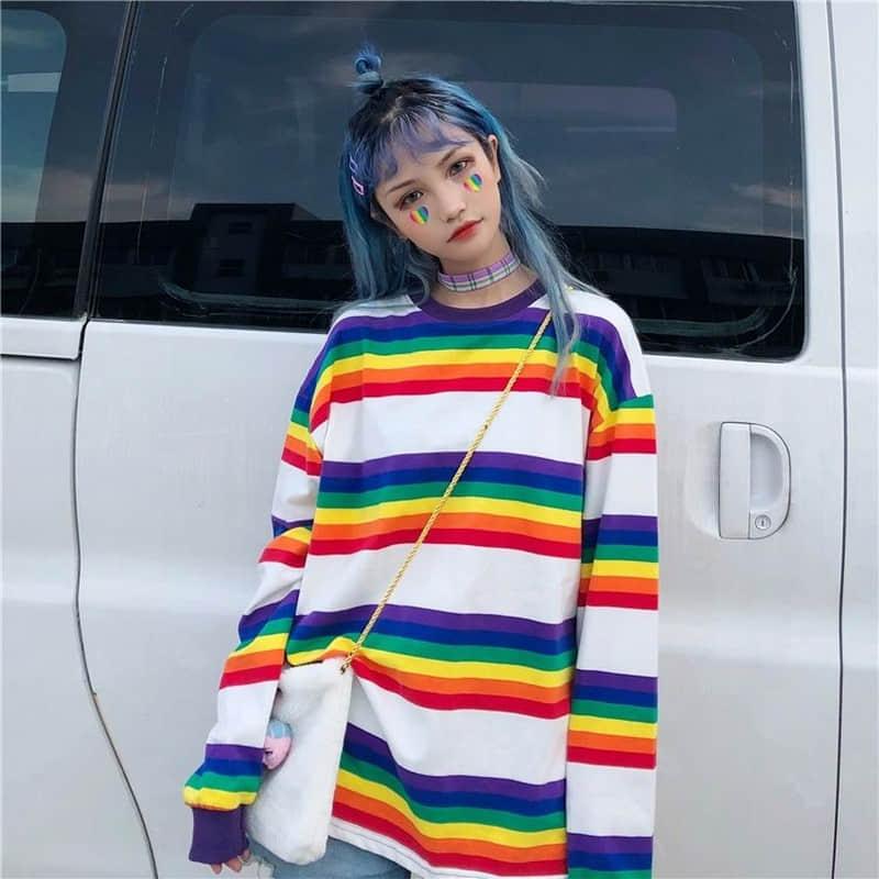 NiceMix Women Autumn Fashion Korea Style Ulzzang Harajuku Rainbow Colorful Striped Long Sleeve T-shirt Female Casual Loose Tee