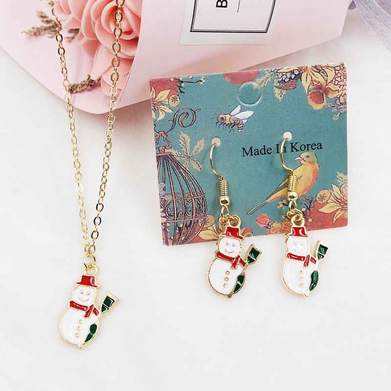 Earrings Necklace Women Fashion Christmas Coin Chain Earrings Drops Oil Green  Snowman Pendant Holiday Carnival Jewelry new