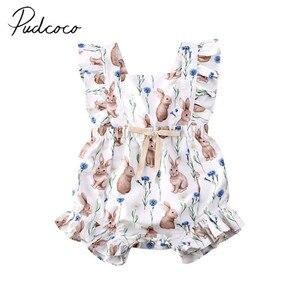 2020 Baby Summer Clothing Newborn Infant Baby Girl Rabbit Printed Bodysuit Playsuit Easter Sunsuit Ruffled Animal Jumpsuts(China)