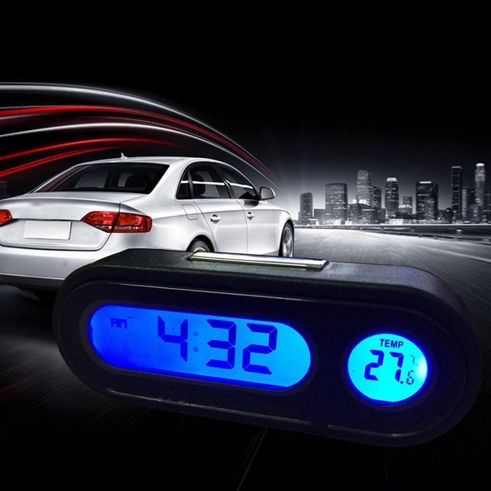 Car Mini Electronic Clock Time Watch Auto Dashboard Clocks Luminous Thermometer Black Digital Display Accessories