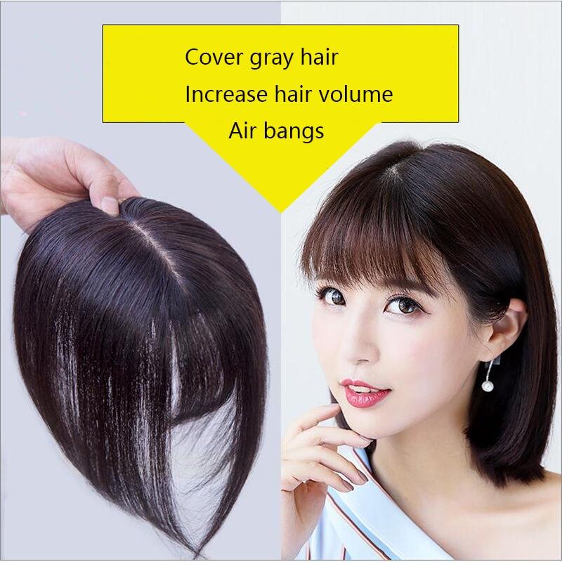 Прямые волосы TALANG, Женский Топпер светильник кое цельное наращивание волос с челкой, человеческие волосы, смешанные синтетические волосы, з...