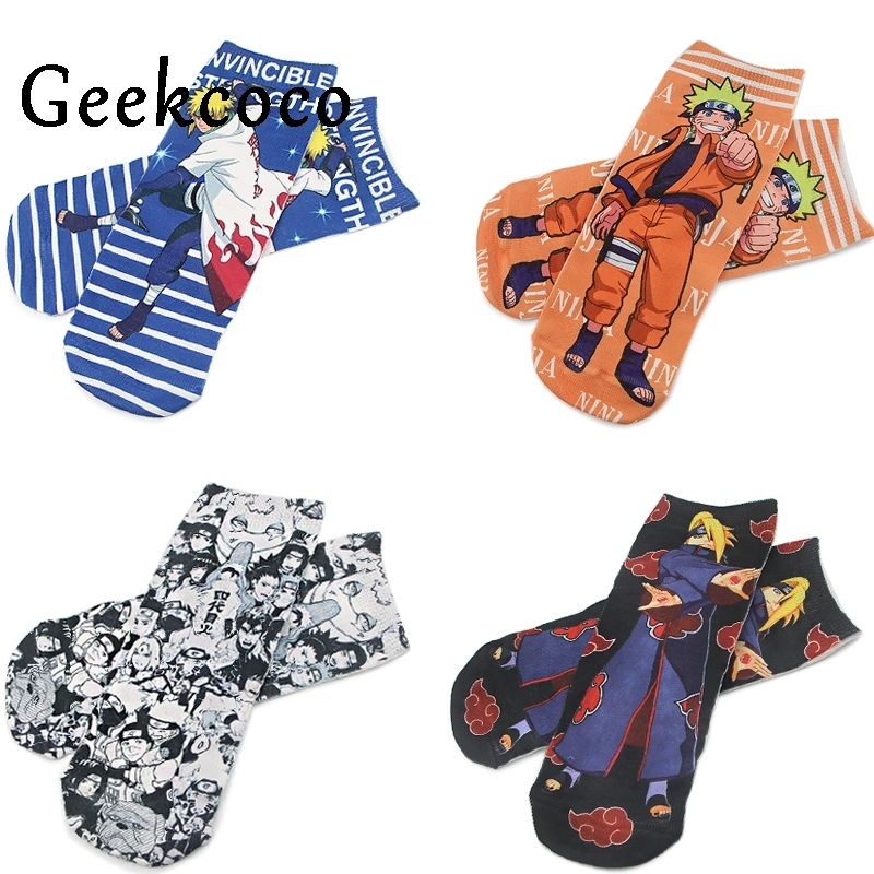 J1077 Cartoon Anime NARUTO Punk Cotton Short Socks Cute Unisex Skatebord Socks Fashion One Side Print Socks