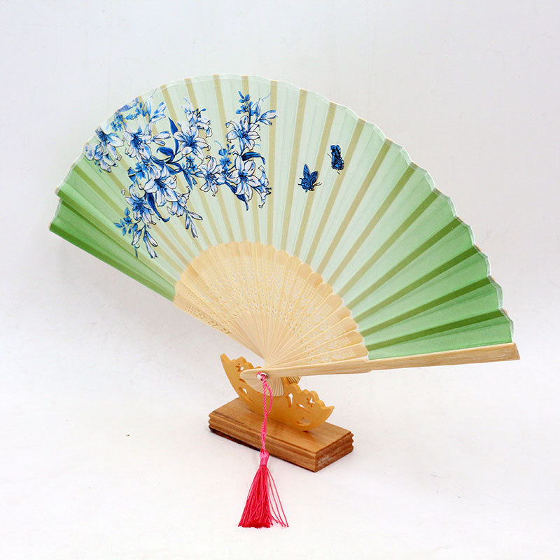 Vintage Bamboo Folding Hand Held Flower Fan Chinese Dance Party Pocket Gifts Party Wedding Birthday Supplies Summer Fan in Party Favors from Home Garden