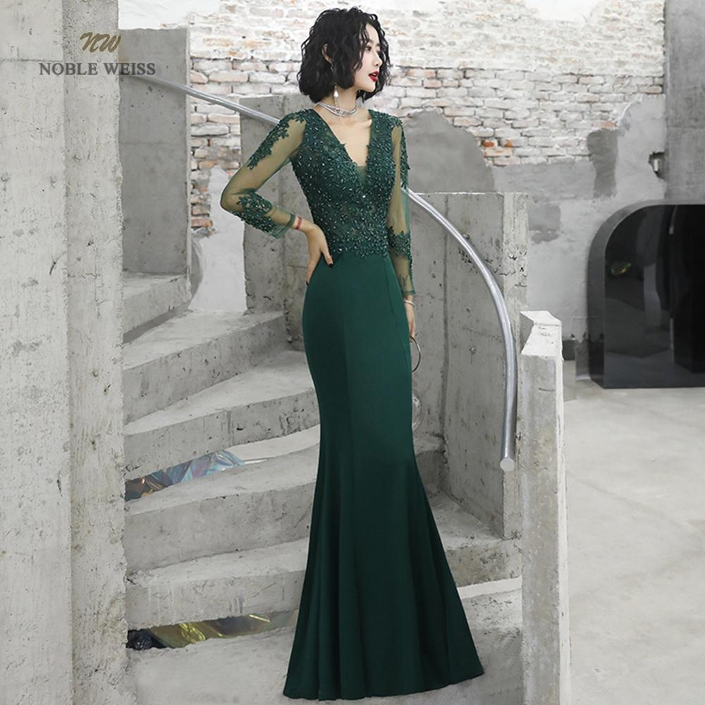 prom dresses sexy v-neck mermaid floor-length satin appliques beading prom dress cheap prom gown robe de soiree party dress 4