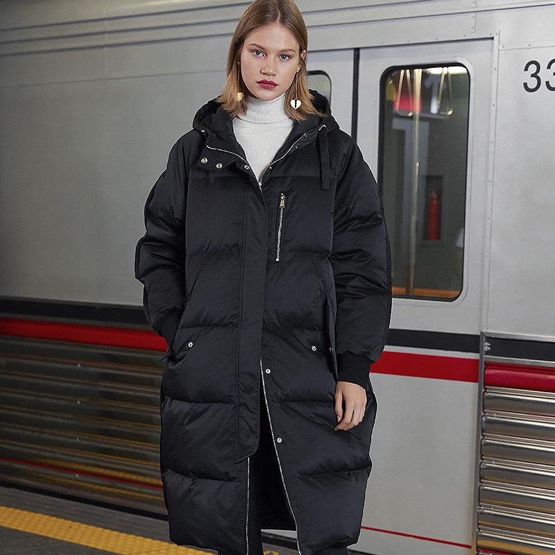 Winter fashion brand thicker warm goose   Down     Coat   Long 90% cocoon style goose   down     Coat   Female Hooded Outwear   Down   Parkas F164