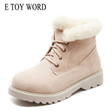 E TOY WORD Snow boots female winter short tube fashion cute flat Martin boots thick bottom plus velvet short boots women shoes цены онлайн