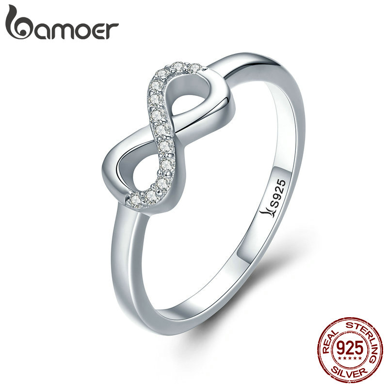 BAMOER Hot Sale 100% 925 Sterling Silver Forever Infinity Love Finger Rings For Women Wedding Anniversary Jewelry Anel SCR332