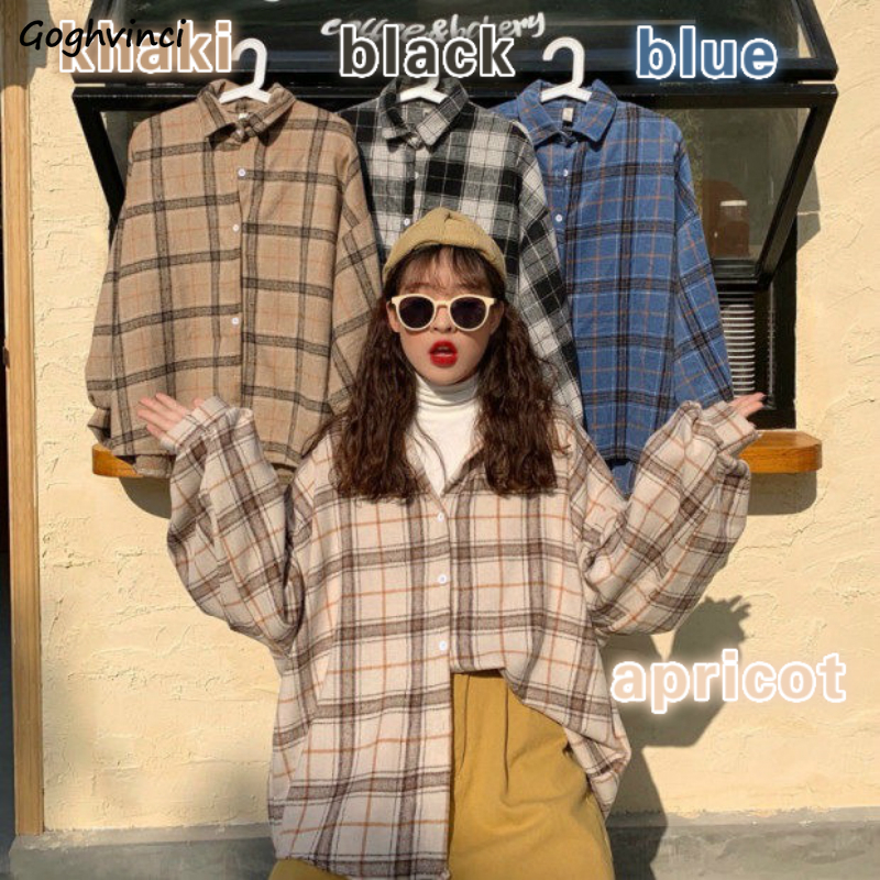 Women Blouses Turn-down Collar Spring Shirts Plaid All-match BF Batwing-sleeve Loose Outwear Harajuku Female 4 Colors Chic New(China)