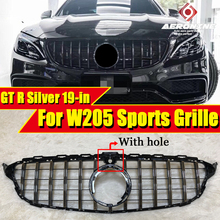 For MercedesMB W205 GT R Style Sports Front Grills ABS Silvery Without sign C-Class C180 C200  with Camera Look Grille 19+