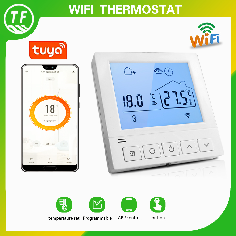 20A Weekly Programming Tuya Wifi Smart Thermostat 220VAC Temperature Controller for Electric Floor Heating 2020 New