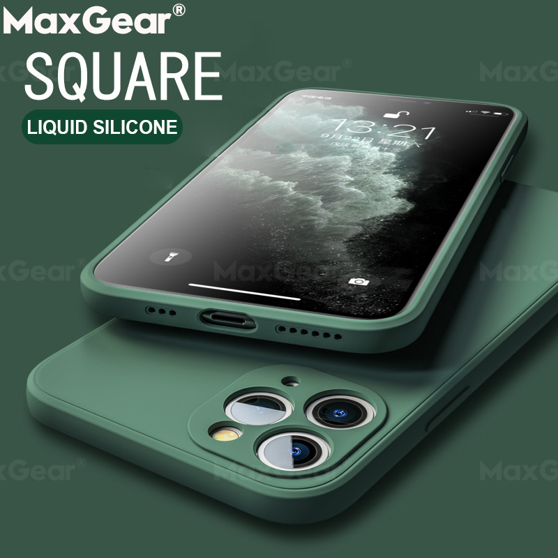 Classic Square Edge Liquid Silicone Case For iPhone 11 Pro Max XS X XR 6 S 6S 7 8 Plus SE 2020 12 Luxury Solid Color Soft Covers(China)