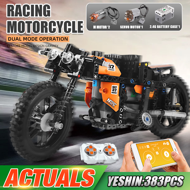 MOULD KING 23005 MOC-17249 APP RC Motorized Fast Racing Motorcycle Building Block