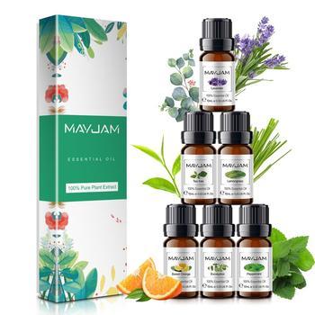 цена на 10ML Pure Essential Oils 6pcs Gift Set Humidifier Aromatherapy Diffusers Eucalyptus Mint Lavender Lemongrass Orange Tea Tree Oil