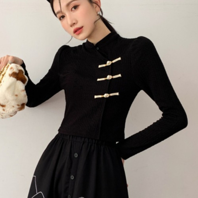 DEAT Woman Suit Black Buckle Stand Collar Long Sleeve Fit Tops + Print Elastic Waist Skirt Vintage Style 2021 New Autumn 15XF734 5