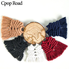 Cpop New Vintage Boho Handmade Weave Macrame Earring Bridesmaid Gifts Jewelry Ethnic Feather Fringe Tassel Earrings Accessories