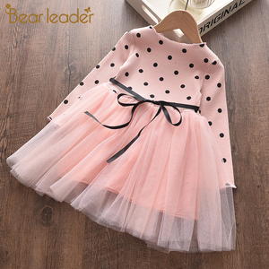 Bear Leader Girls Dress 2020 New Spring Casual Style Cartoon Pink Long Sleeve Wool Bow Design For Princess Dress Girls Clothes(China)