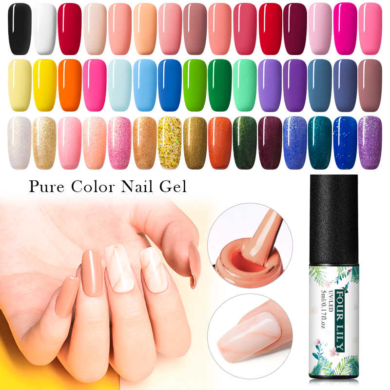 Vier Lelie Pure Kleur Nagel Gel Losweken 5 Ml Nail Gel Polish 176 Kleuren Nail Art Lak Langdurige uv Led Gel Manicure Varnish