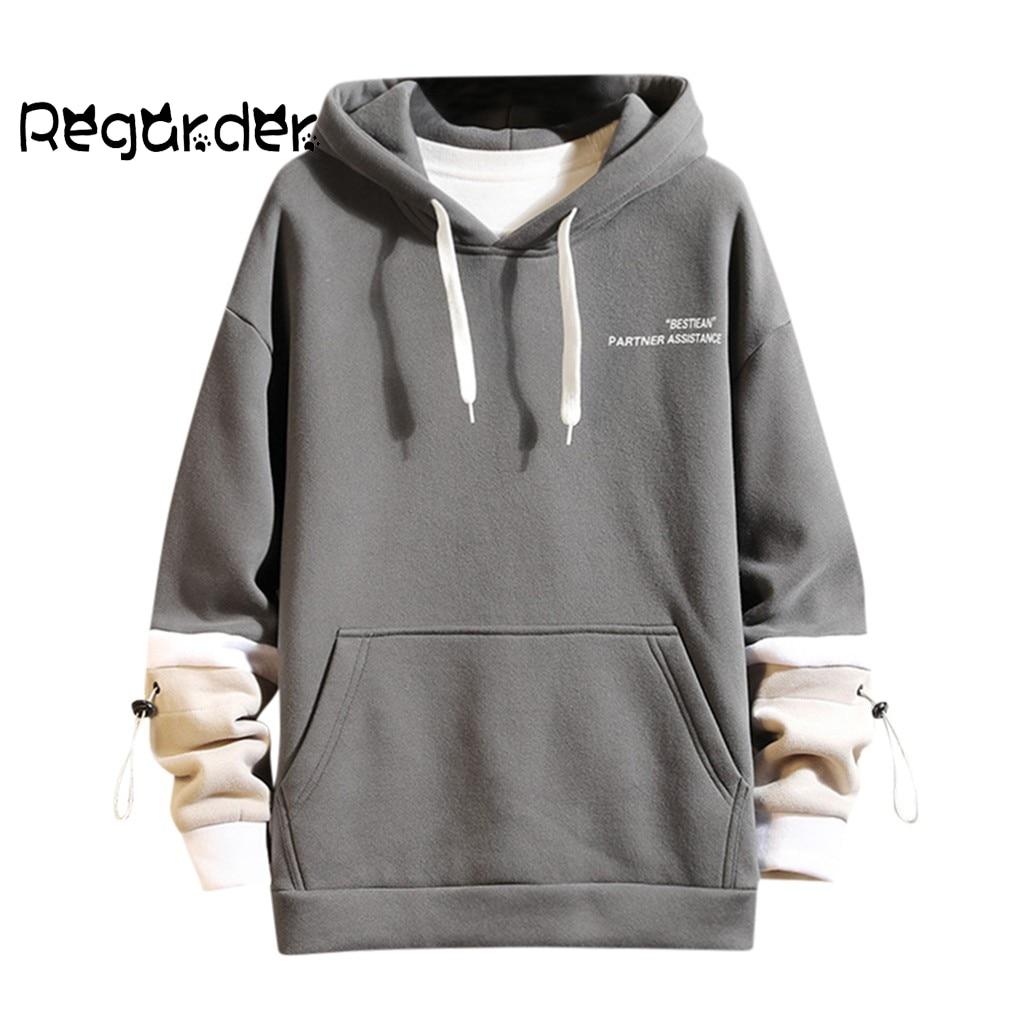 Men Hooded Autumn Male Hoodies Streetwear Men's Sweatshirts Long sleeved Printed Stitching Colors Pocket Hoodies Tops moletom#g3
