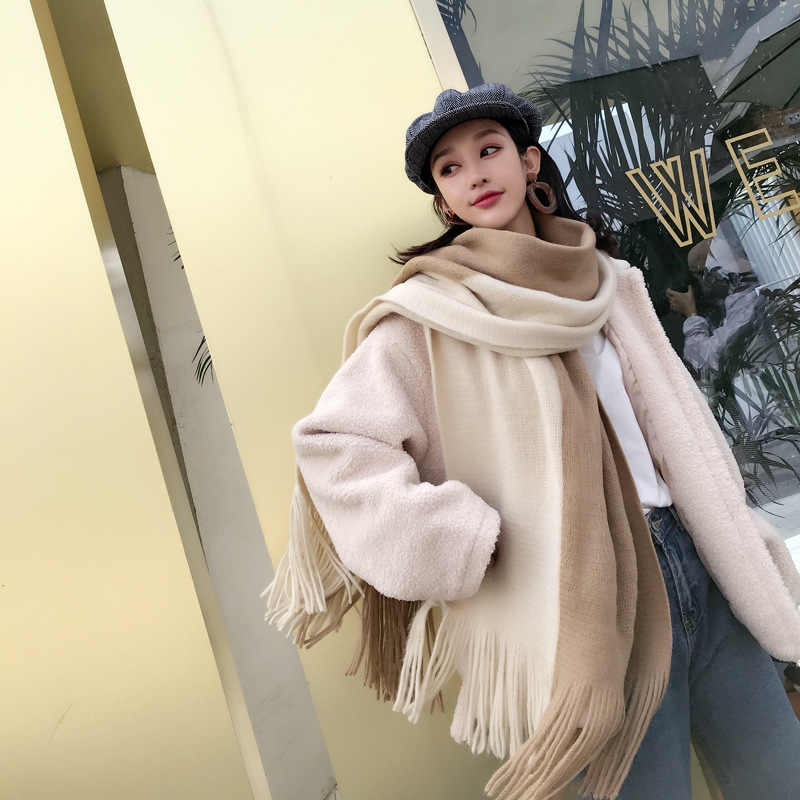 Sparsil Women Winter Cashmere Scarves Solid Patchwork Double-faced Scarf Casual Long Thick Warm Shawl With Tassel For Female