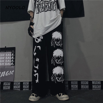 Harajuku Anime characters fashion Japanese pattern hip hop wide leg pants women men casual streetwear elastic waist jogger pants 7