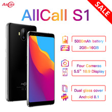 Allcall S1 5000mAh 3G Smartphone MTK6580 Quad Core 2GB 16GB Android 8.1 18:9 5.5 Inch 8MP+2MP Rear D