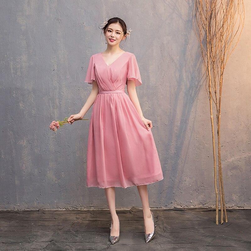 Tea-Length Wedding Guest Dress Simple V-neck Pink Bridesmaid Dress Sexy Prom Elegant Dress Women For Wedding Party Club Vestidos