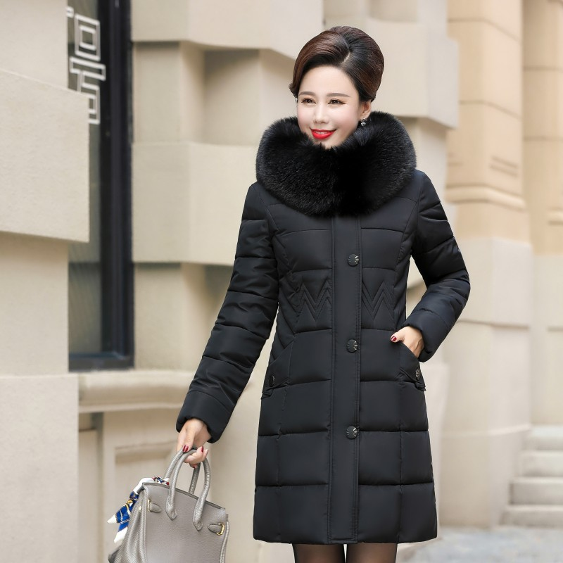 Middle-aged Cotton-padded Clothes Women's Mid-length Over-the-Knee Korean-style Slim Fit Thick Down Jacket Cotton-padded Clothes