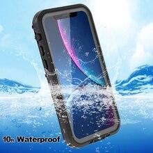 Su geçirmez iphone için kılıf 11 durumda darbeye dayanıklı dome ağır 360 tam korumak için iphone 11 pro max kılıf kapak Coque kickstand