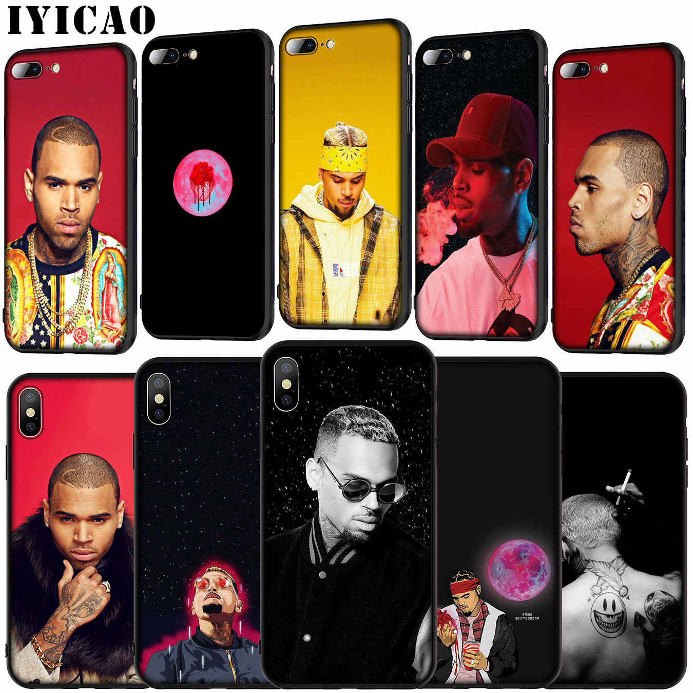 IYICAO Chris Brown Rap Hot singer Soft Silicone Cover Case for iPhone 11 Pro XR X XS Max 6 6S 7 8 Plus 5 5S SE Black Phone Case
