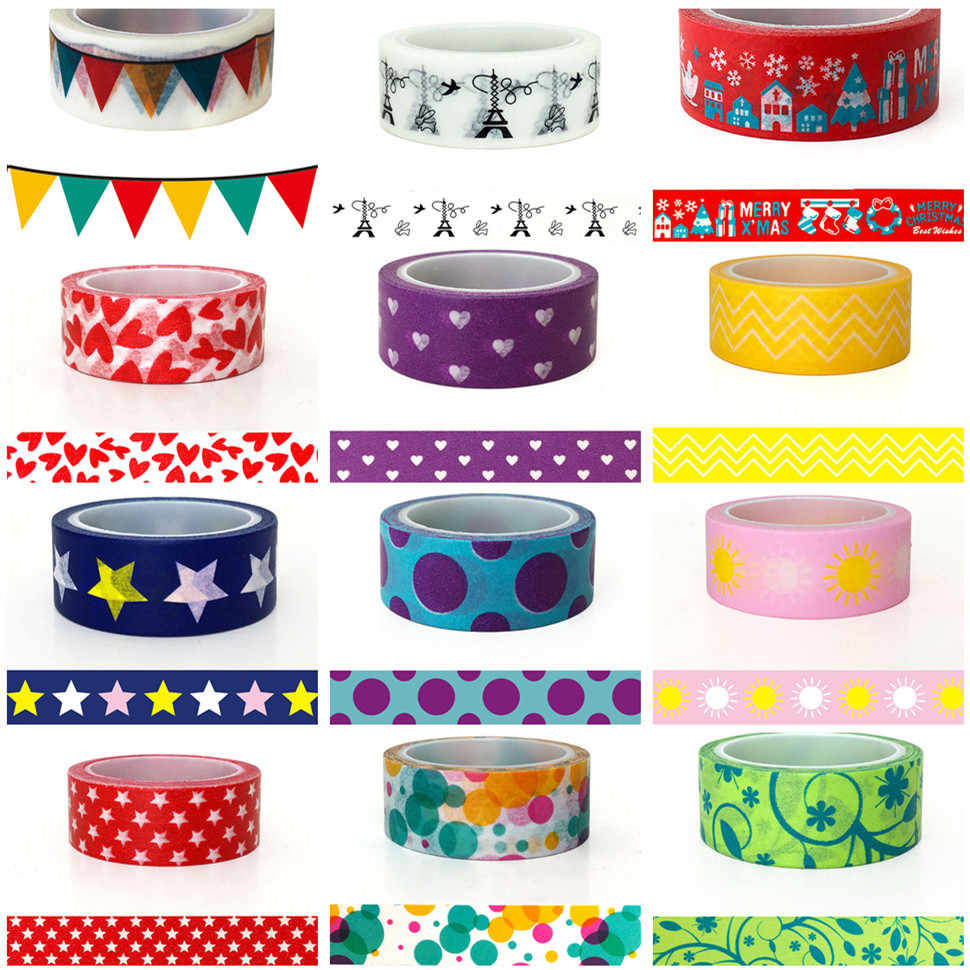2M/5M*15MM Festive Air Washi Tape Japanese Paper DIY Planner Masking Tape Adhesive Tapes Stickers Decorative Stationery Tapes