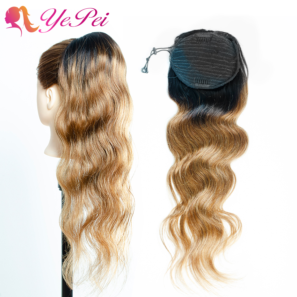 Yepei Body Wave Drawstring Ponytails Human Hair 12-22inch Clip In Extensions Ombre Color 1B/30 For Black Women Remy Hair