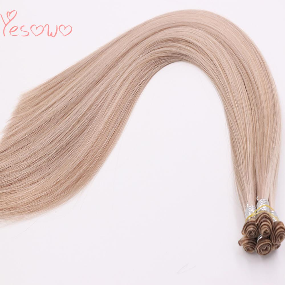 Yesowo Brazilian Remy Human Hair 100g 6PCS Silky Straight 18P60A# Piano Color Hair Bundles Hand Tied Weft Hair Extension