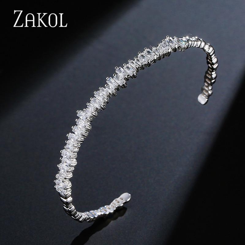 ZAKOL Fashion Black Cubic Zirconia Bracelet Bangle Trendy Baguette Cuff Bangles For Women Girl Party Wedding Jewelry FSBP154
