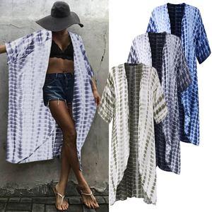 Women's Cardigans Blouse ZANZEA 2020 Elegant Printed Beach Kimono Cape Half Sleeve Shirts Female Long Cardigans Oversized Tunic