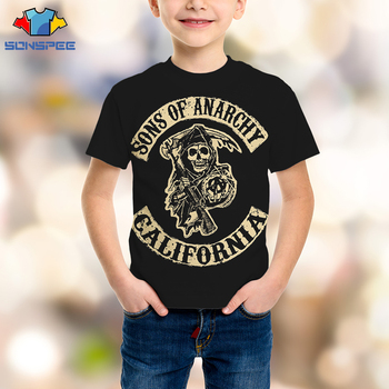SONSPEE 3D TV Series Sons Of Anarchy T-shirt Motorcycle Childrens Shirt Violence Death Scythe Kids Casual Skull