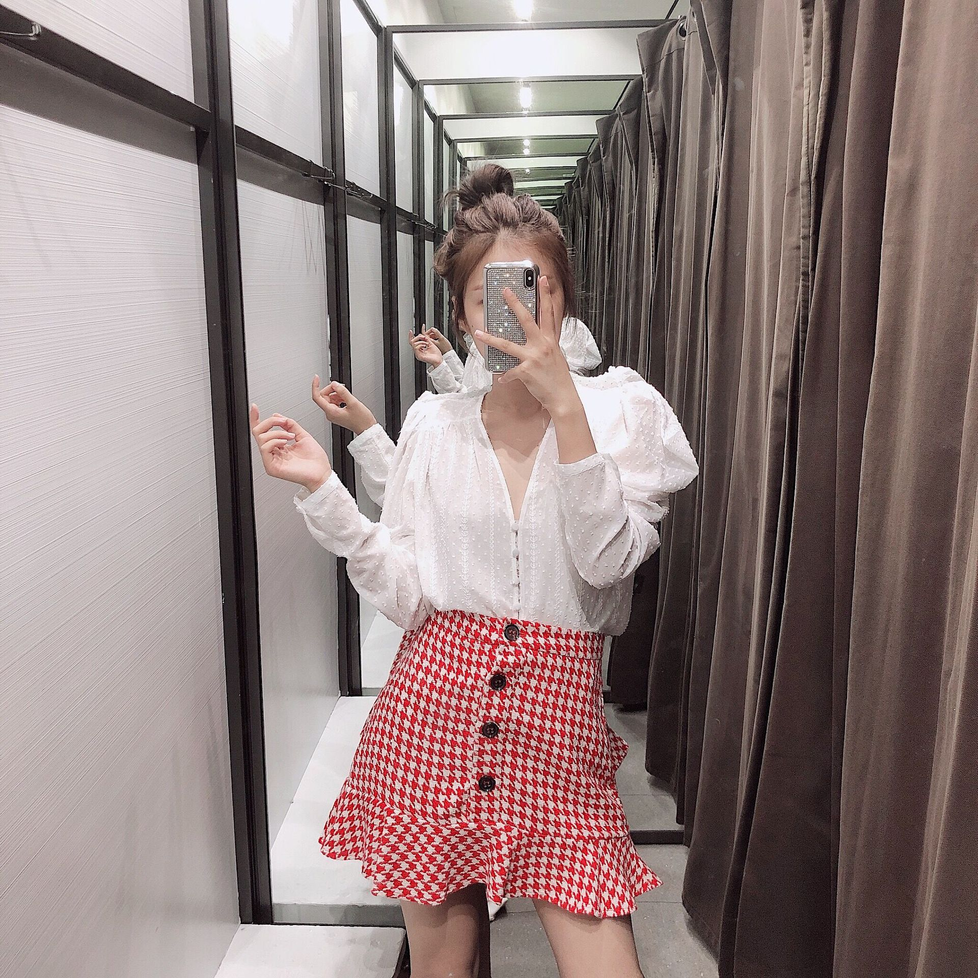 Hg46 Pattern High-waisted Slimming Plaid Mini Skirt Red
