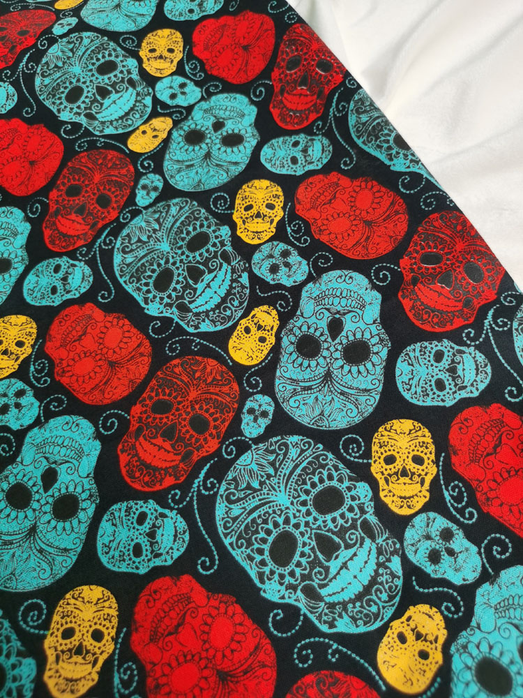 100% Cotton ViaPhil Halloween Punk  Colorful Flower Skull Sugar Skull Printed Fabric Skull Fabric Patchwork Cloth Home Red Blue