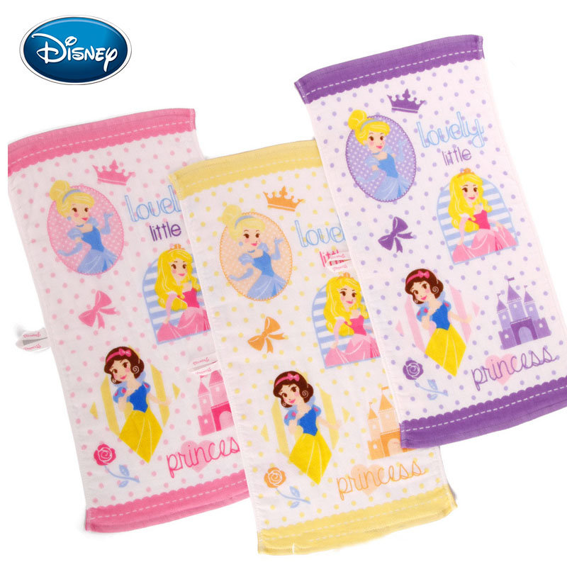 Disney Princess Series Purple Face Towel Cotton Baby Gauze Towel Kindergarten Children Special-purpose Towel 25x50cm Kids Gifts