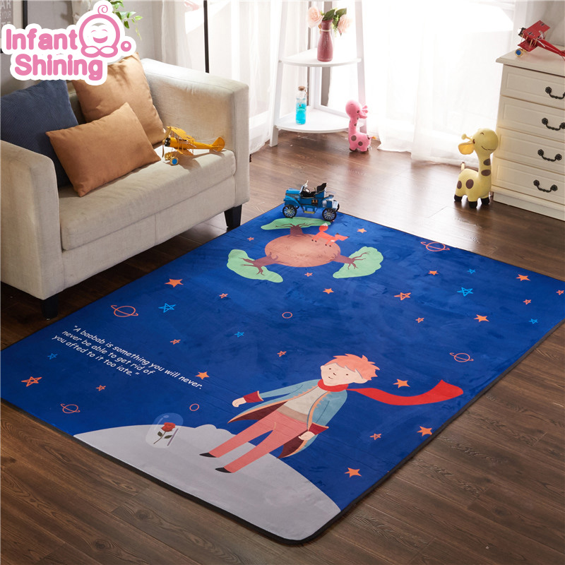 Infant Shining Play Mat Thickened Living Room Mat Suede Children's Non-slip Crawling Mat Climbing Mat Game Carpet Non-Toxic