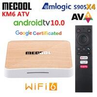 Mecool KM6 ATV Amlogic S905X4 AV1 Smart Android 10,0 TV Box 4GB RAM 64GB ROM 2,4G 5G WiFi Bluetooth 4K HD Set Top Box 2GB 16GB
