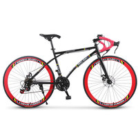 Road Bike Shifting Handlebar Fixed Gear 26 inch 6/24 speed Double Disc Brake Student Adult Net Red Bicycle