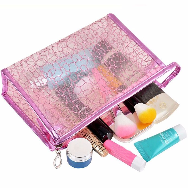 New Transparent Waterproof PVC Cosmetic Bag Envelope Toiletry Bags Makeup Case Traveling Durable Small Storage Make Up Organizer
