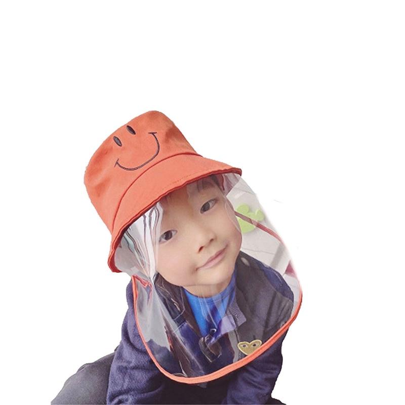 2020 Fashion Kids Anti Saliva Splash Hat Isolation Dustproof Windproof Fisherman Hats Anti UV Sun Cap with Clear Face Shield