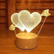 Usb 3d Led Night Lights Novelty Illusion Night Lamp 3d Illusion Table Lamp For Home Valentine #8217 s Day Wedding Decoration Lights cheap KAKUDER Heart CN(Origin) LED Bulbs Switch HOLIDAY 0-5W Baby gifts holiday Christmas decoration USB cable and basement stage lighting effect Wedding decor house Decoration