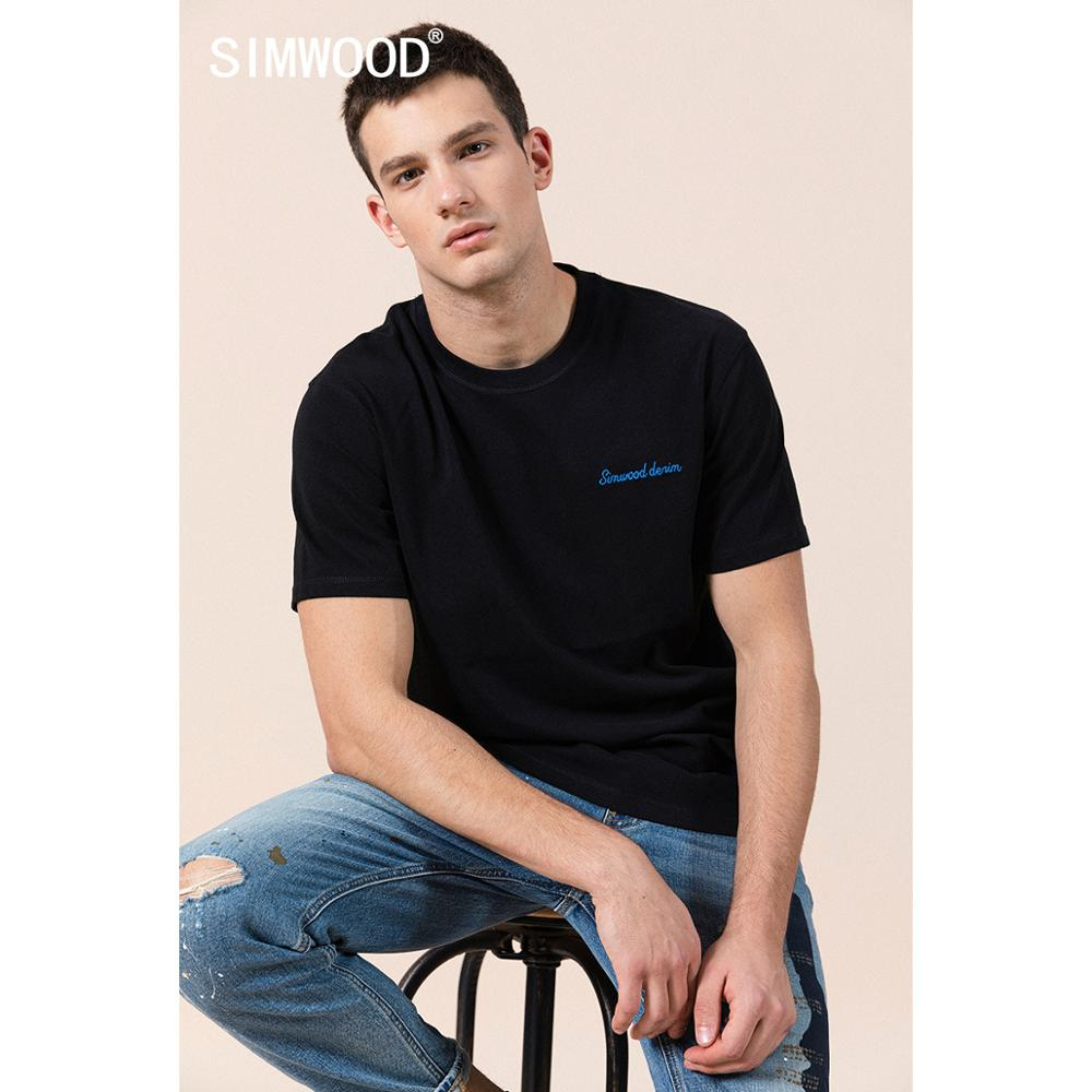 SIMWOOD 2020 Summer New 100% Cotton T-shirt Chest Letter Embroidered 32S/2 Tops Plus Size 240g High Quality Fabric Tees T Shirt