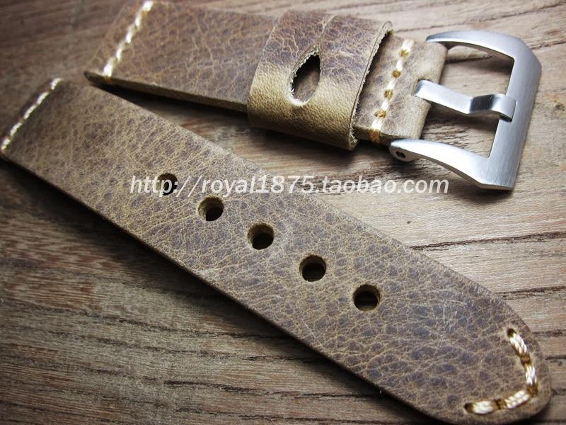 Men Handmade Watchband Crazy Horse Genuine Leather Watch Strap 22mm vintage Watch Bracelet Band Accessories Wristband Watch belt