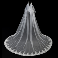 Wedding Party Applique Long Veil with Floral Headband Chapel Long Wedding Accessories