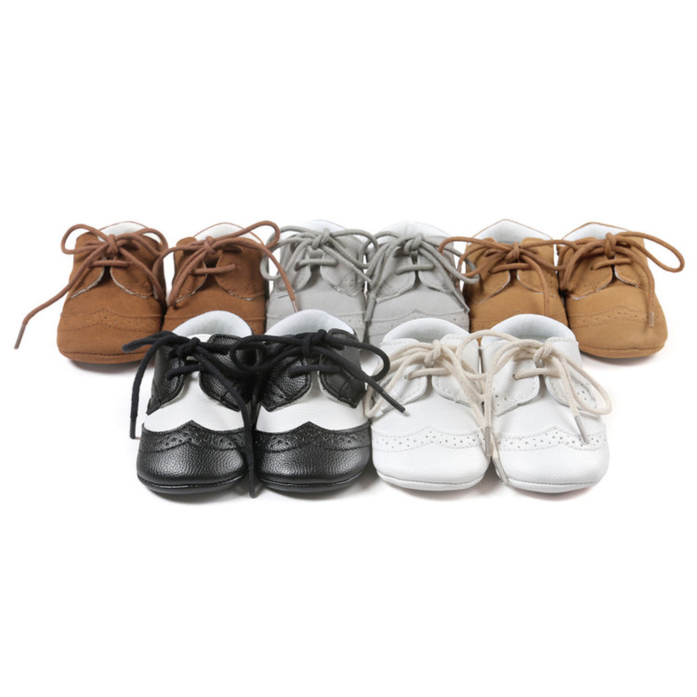 Newborn Baby Boy Girl First Walkers Shoes Soft Rubber Bottom Solid Leather Oxford Dress Toddler Moccasins Crib Infant Shoes