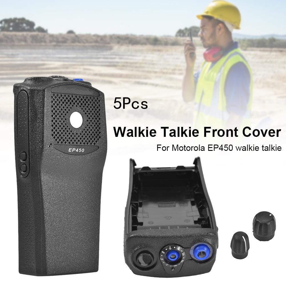 5 Pcs Front Cover Front Casing With The Knobs Repair Housing Cover Shell For Motorola EP450 Walkie Talkie With Knob Shell